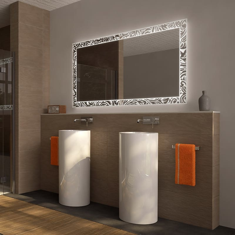 Badezimmerspiegel LED Swirly Curls