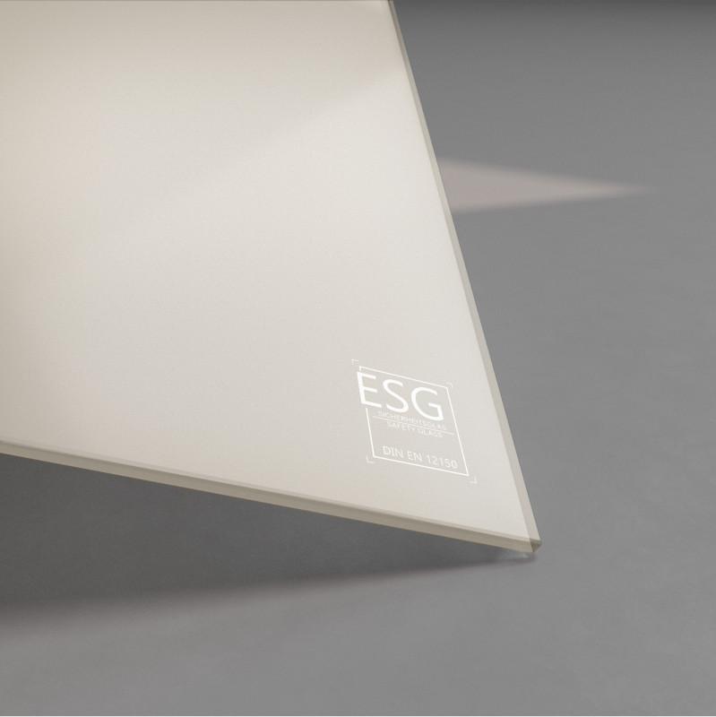 Beige / braun lackiertes ESG Glas SATINATO 4mm