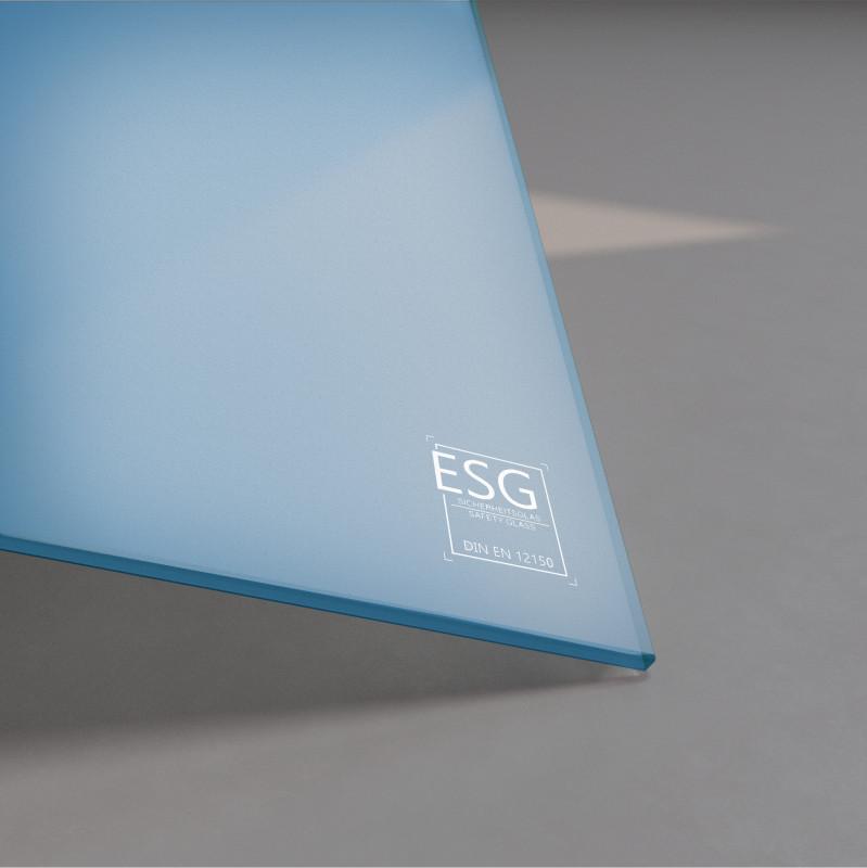 Blau lackiertes ESG Glas SATINATO 4mm