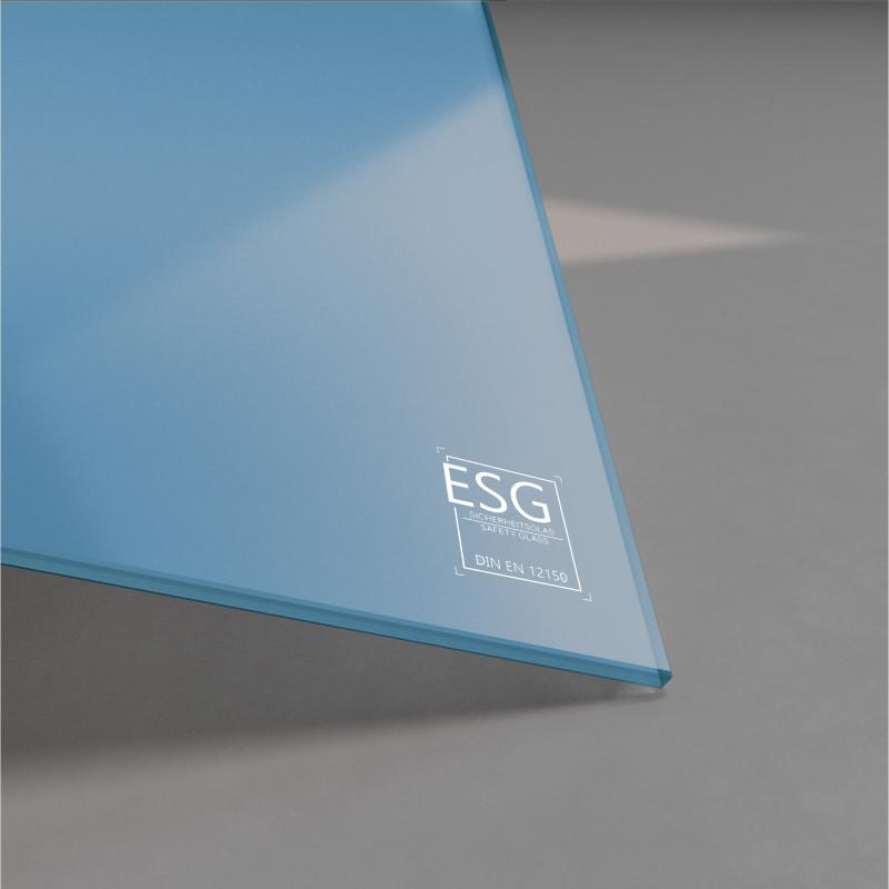 Blau lackiertes ESG Glas nach Maß 4mm
