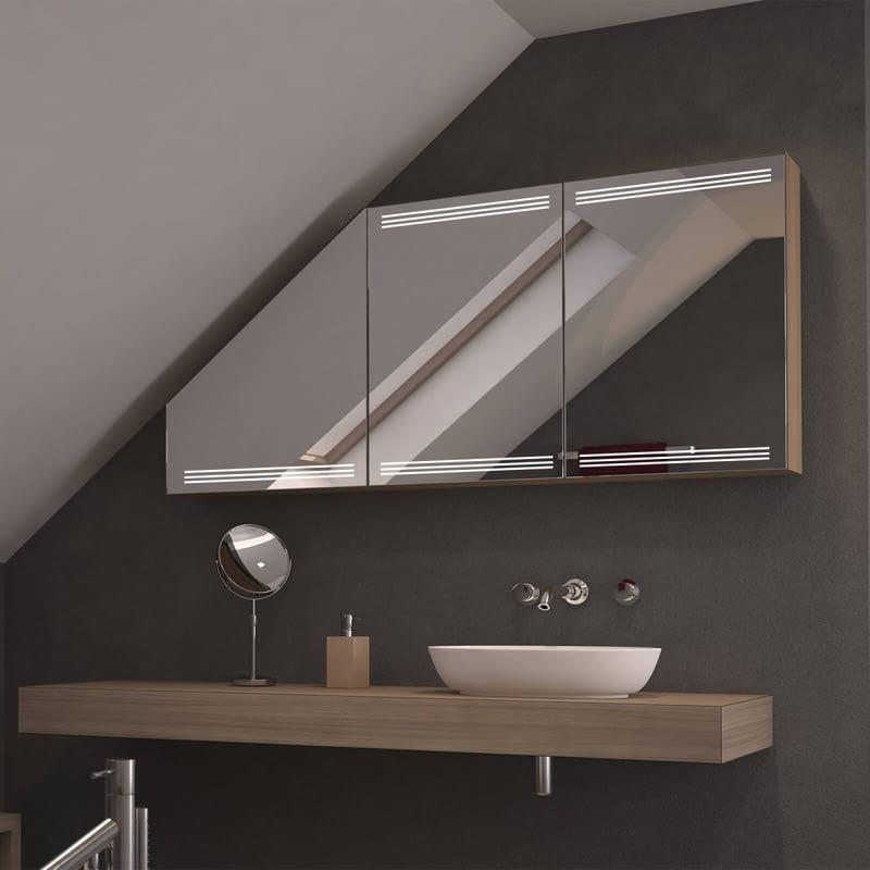 Dachschrägen-Spiegelschrank Triolo