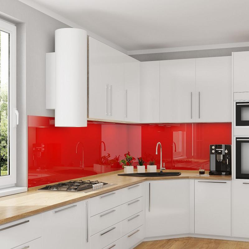 Glas Küchenrückwand, Nischenrückwand - Rot - REF 1586, 6mm