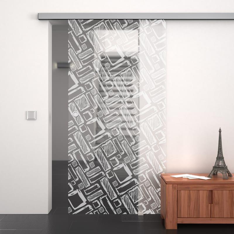 Glasschiebetür gelasert mit Motiv Art Design