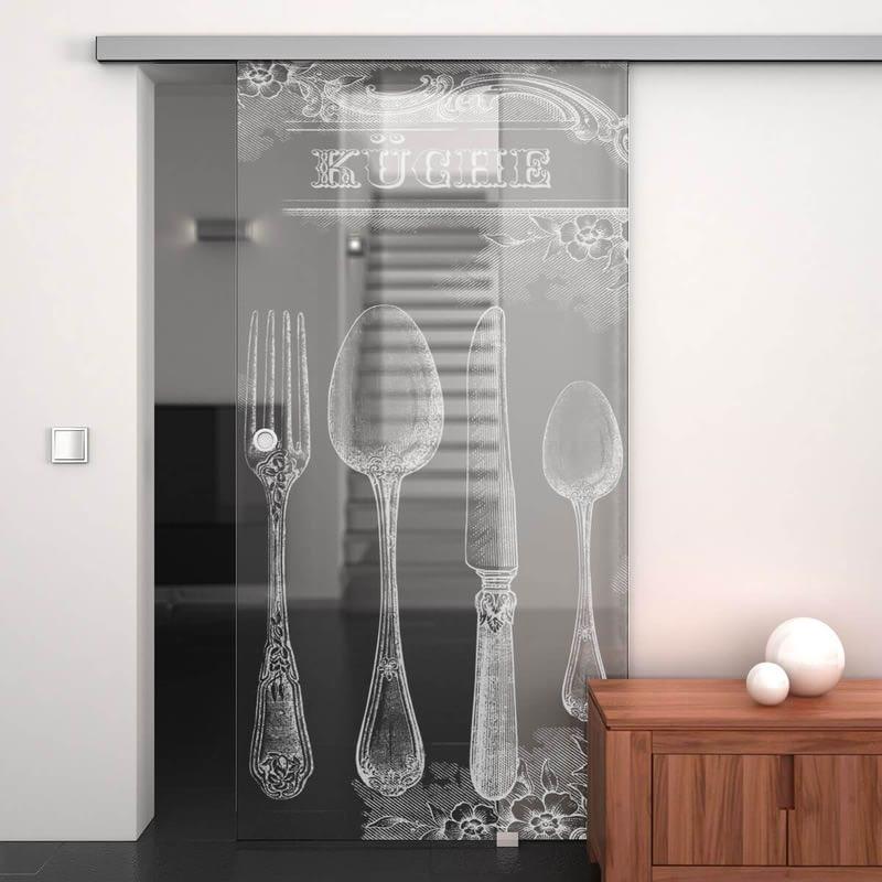 Glasschiebetür gelasert mit Motiv Retro Küche