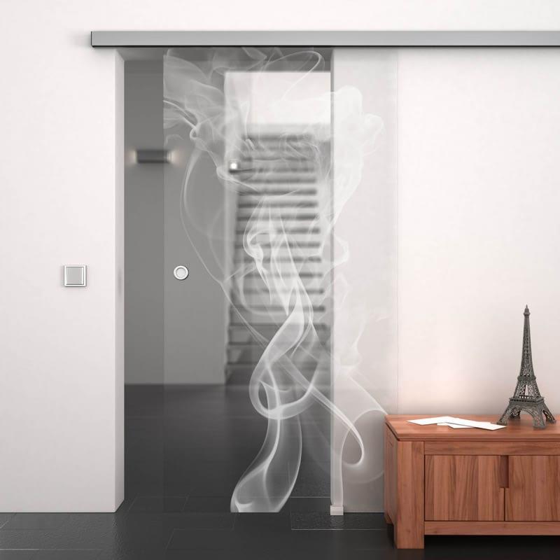 Glasschiebetür gelasert mit Motiv Smoke