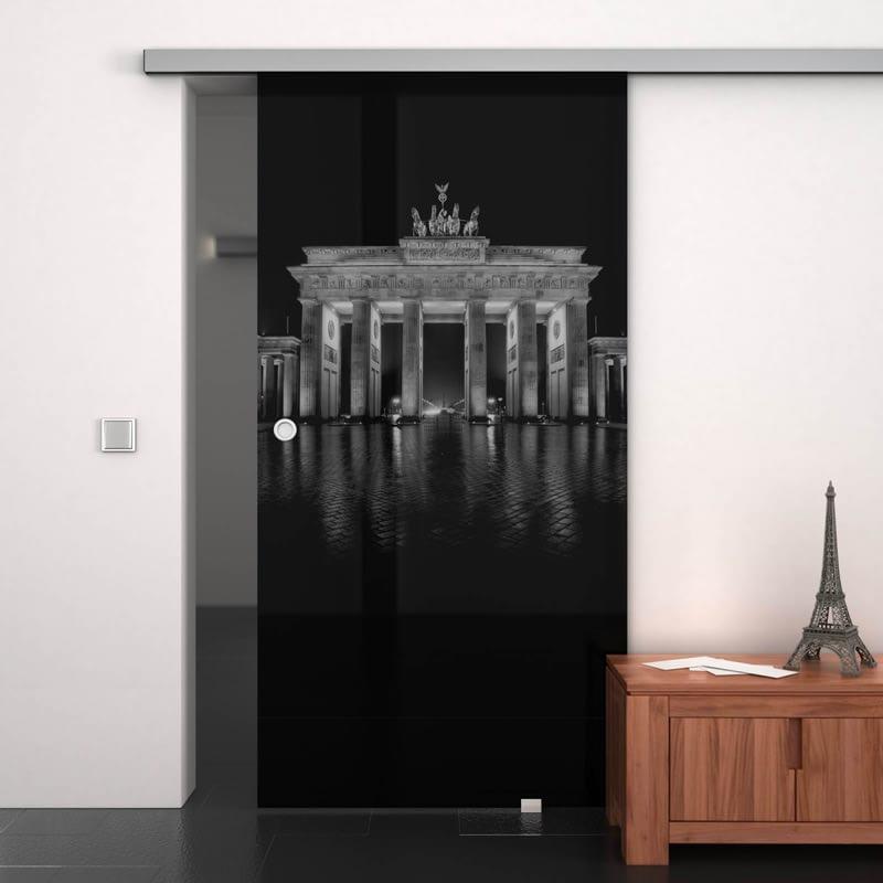 Glasschiebetür lackiert mit Lasermotiv Brandenburger Tor