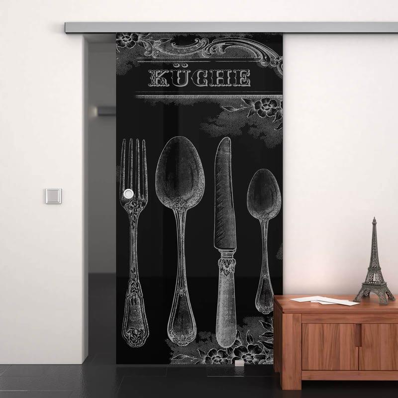 Glasschiebetür lackiert mit Lasermotiv Retro Küche