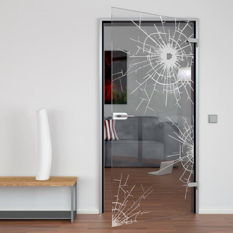 Glastür gelasert mit Motiv Einschusslöcher