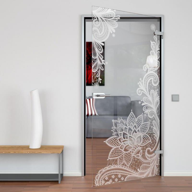 Glastür gelasert mit Motiv Floralish