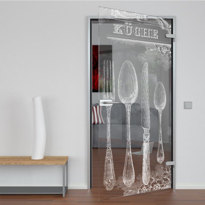 Glastür gelasert mit Motiv Küche
