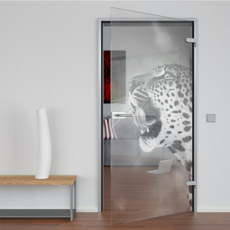 Glastür gelasert mit Motiv Leopard