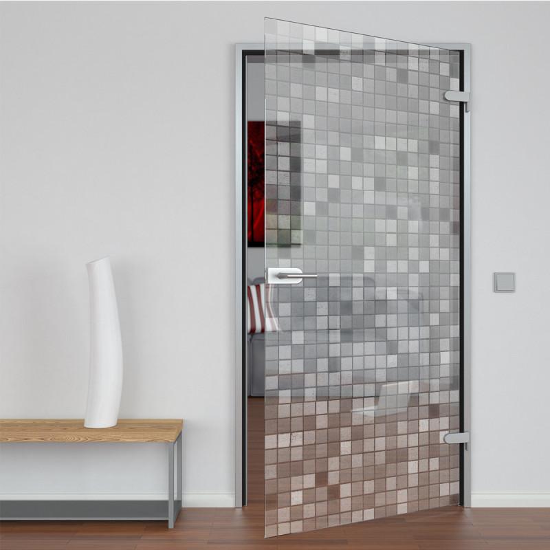 Glastür gelasert mit Motiv Mosaik