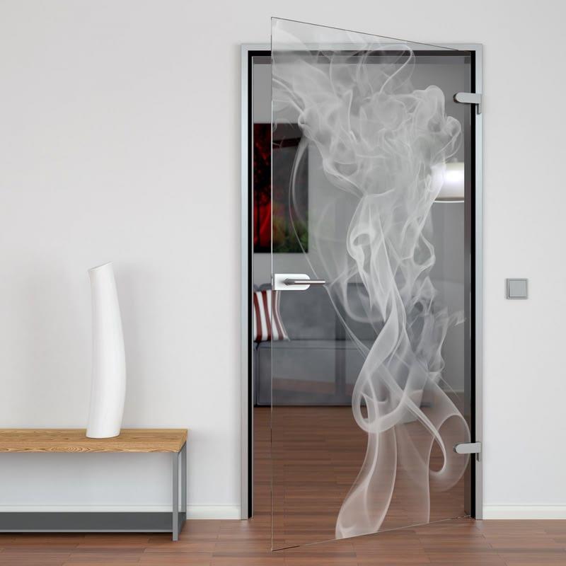 Glastür gelasert mit Motiv Smoke