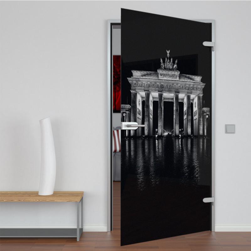 Glastür lackiert mit Lasermotiv Brandenburger Tor