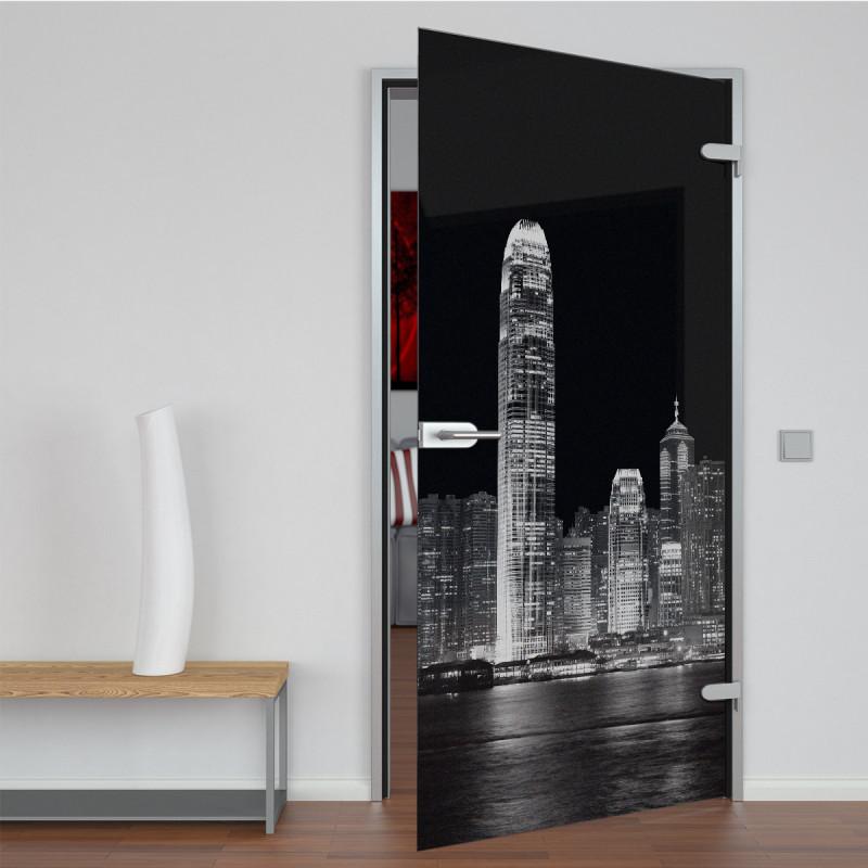 Glastür lackiert mit Lasermotiv Skyline II