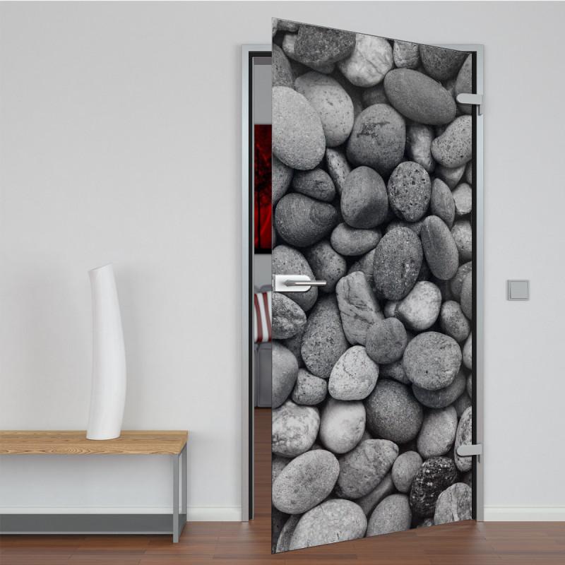 Glastür lackiert mit Lasermotiv Stones