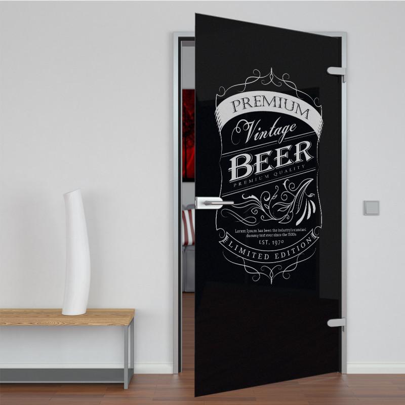 Glastür lackiert mit Lasermotiv Vintage Beer