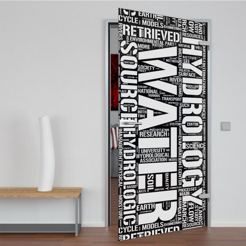 Glastür lackiert mit Lasermotiv Warendorf
