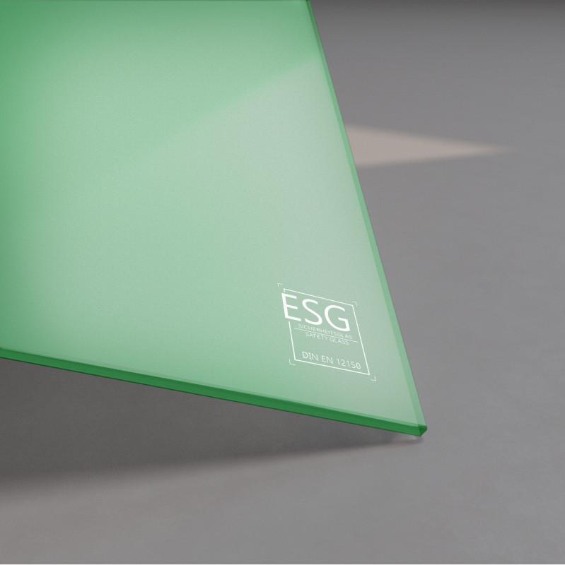 Grün lackiertes ESG Glas SATINATO 4mm
