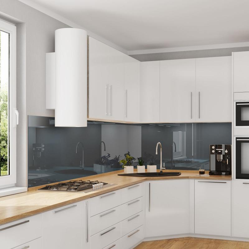 Küchenrückwand Glas nach Maß - Dunkel-Grau / Anthrazit - REF 7016, 6mm