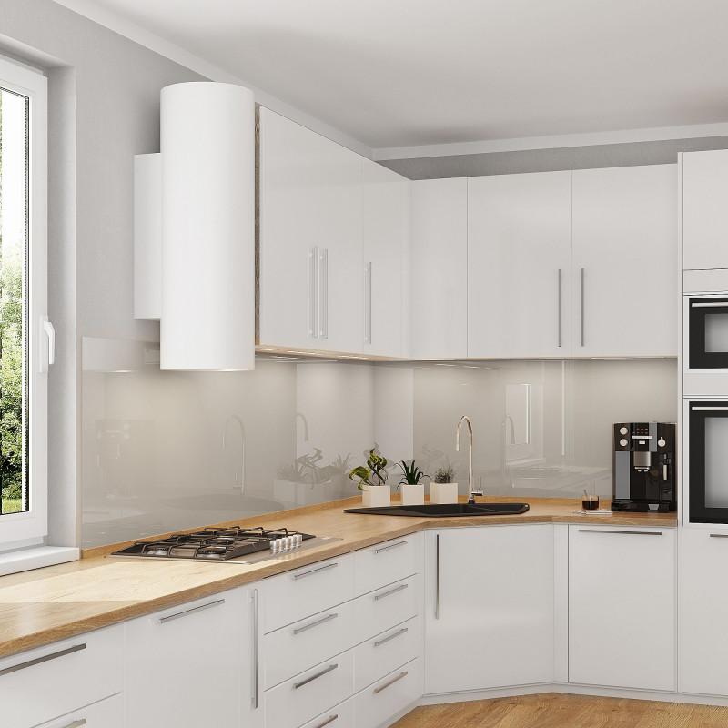 Küchenrückwand aus Glas - Cremeweiß / Weiß - REF 1013, 6mm