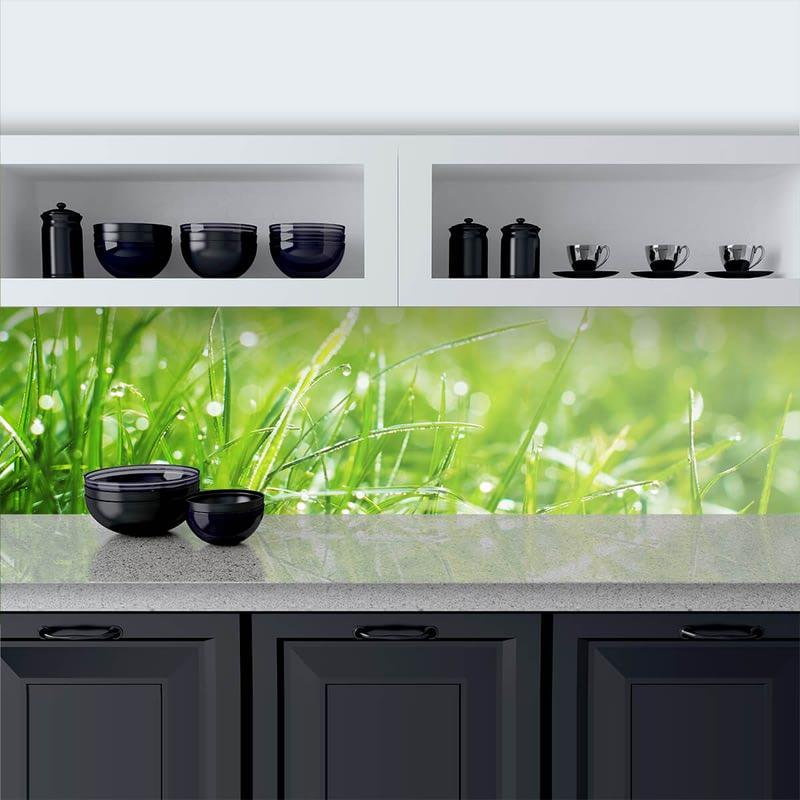 Küchenrückwand aus Glas Gras