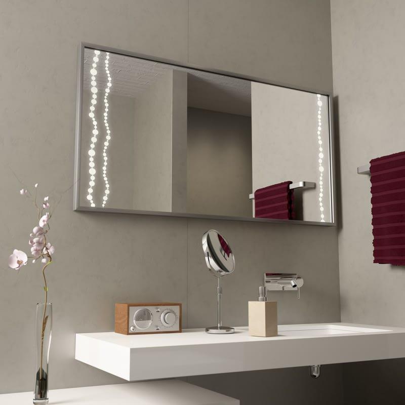 Leuchtspiegel mit Alurahmen Pearls