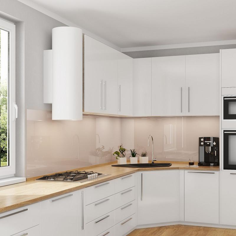 Nischenwand Glas für die Küche - Hell-Beige / Elfenbein - REF 1015, 6mm