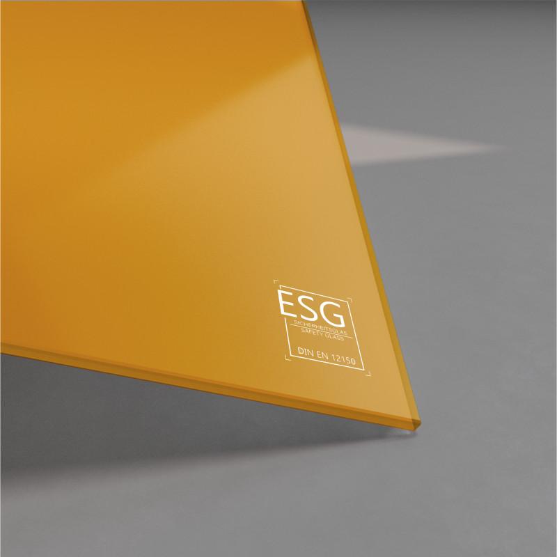 Orange lackiertes ESG Glas nach Maß 4mm