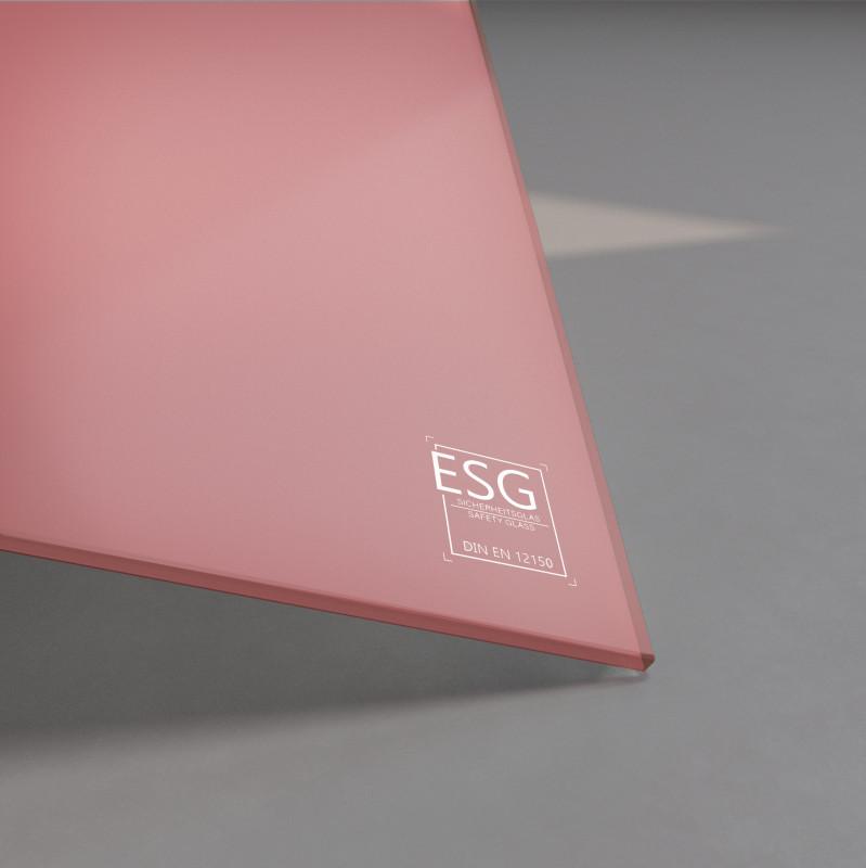 Rosa / Pink lackiertes ESG Glas SATINATO 4mm