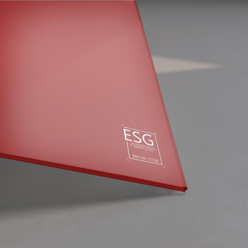 Rot lackiertes ESG Glas SATINATO 4mm