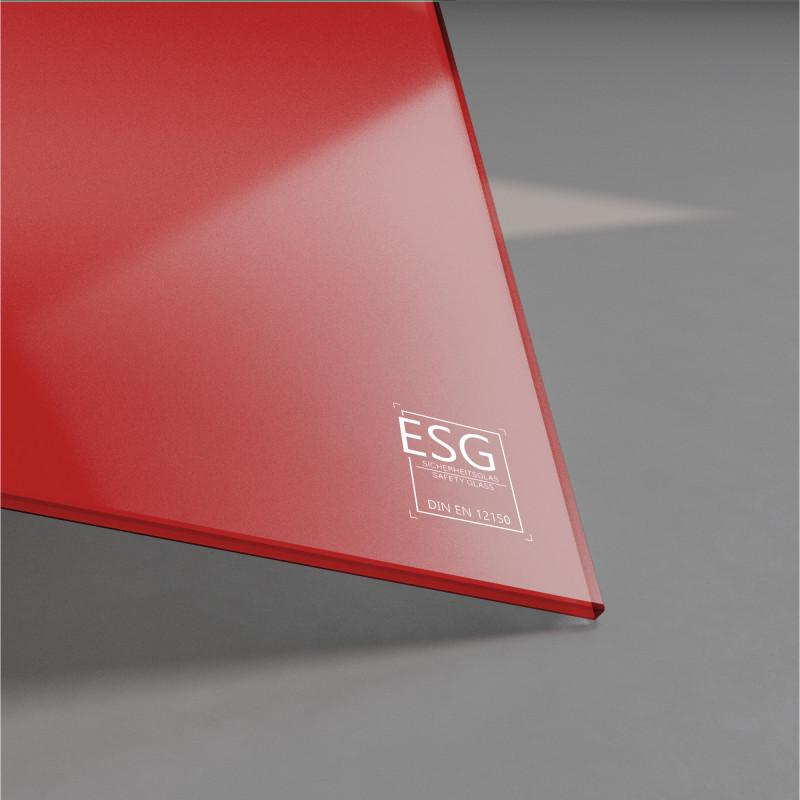 Rot lackiertes ESG Glas nach Maß 4mm