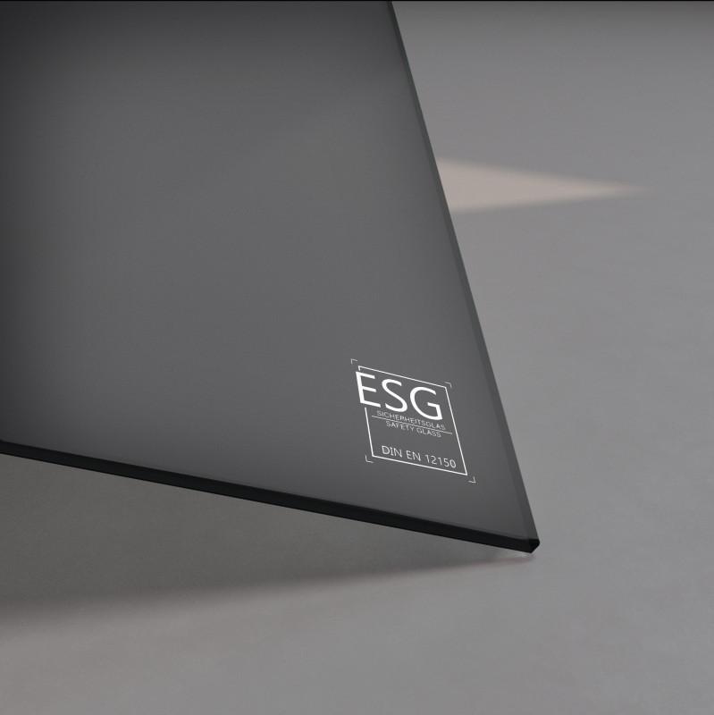Schwarz lackiertes ESG Glas SATINATO 4mm