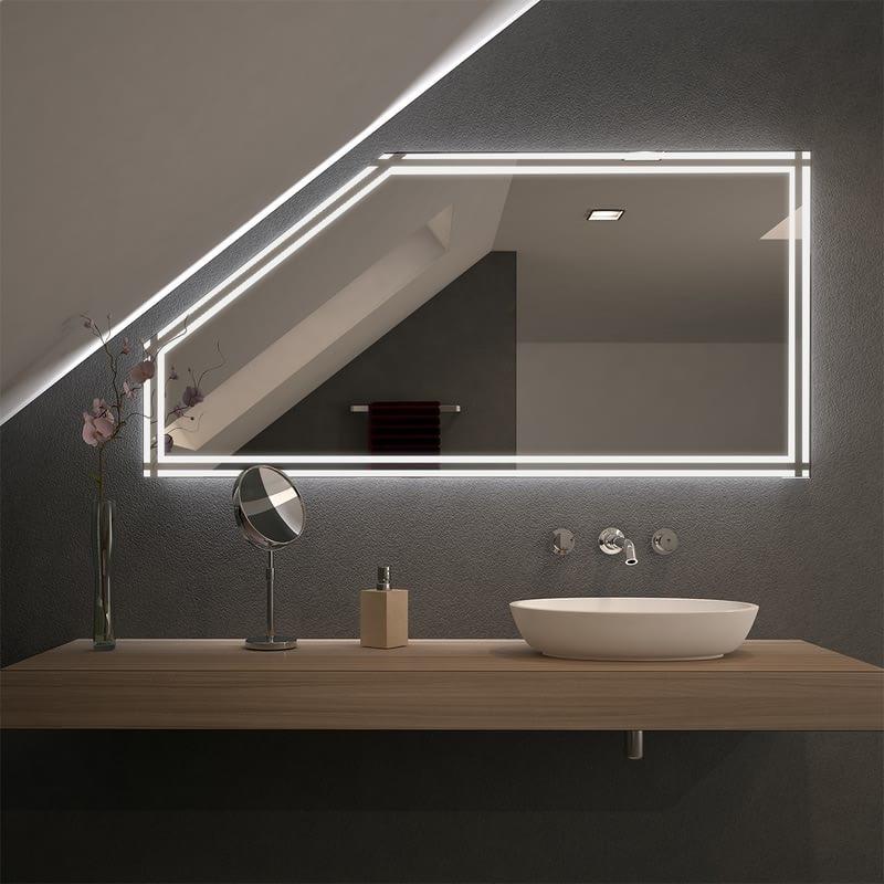 Spiegel für Dachschrägen mit LED Beleuchtung Cross