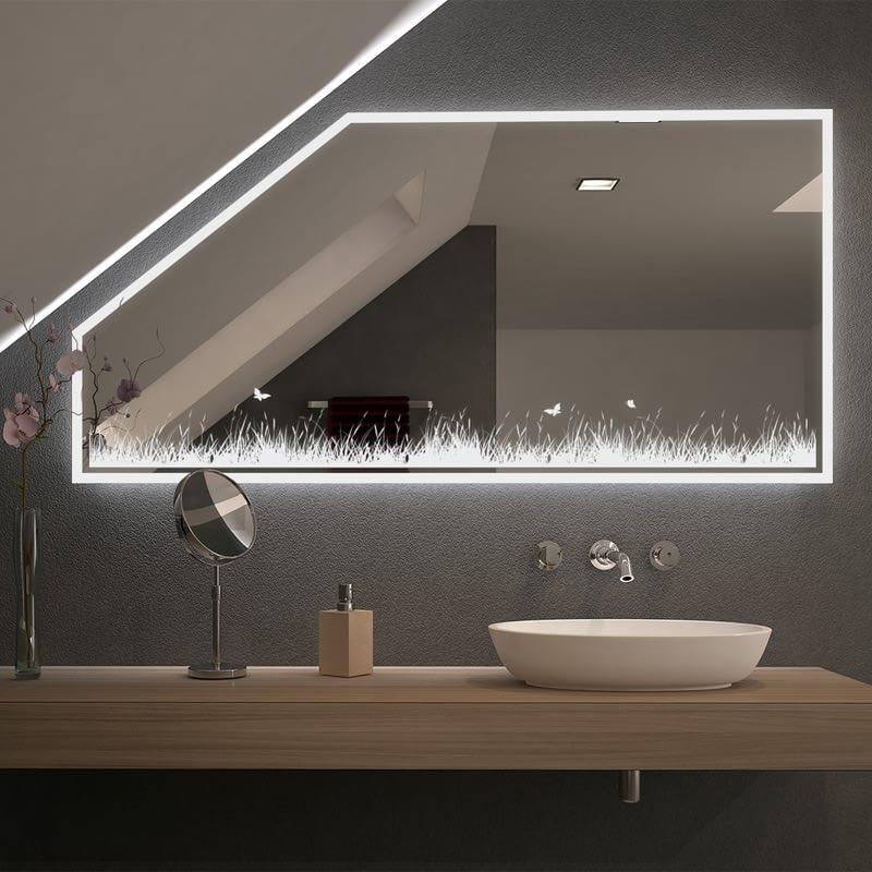 Spiegel für Dachschrägen mit LED Beleuchtung Midou