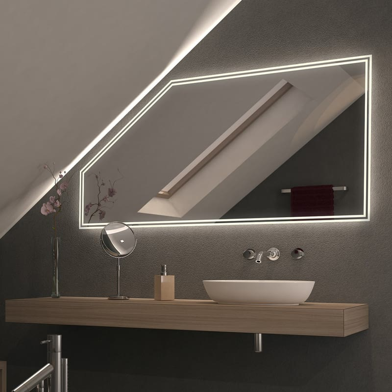 Spiegel für Dachschrägen mit LED Beleuchtung – Dualo