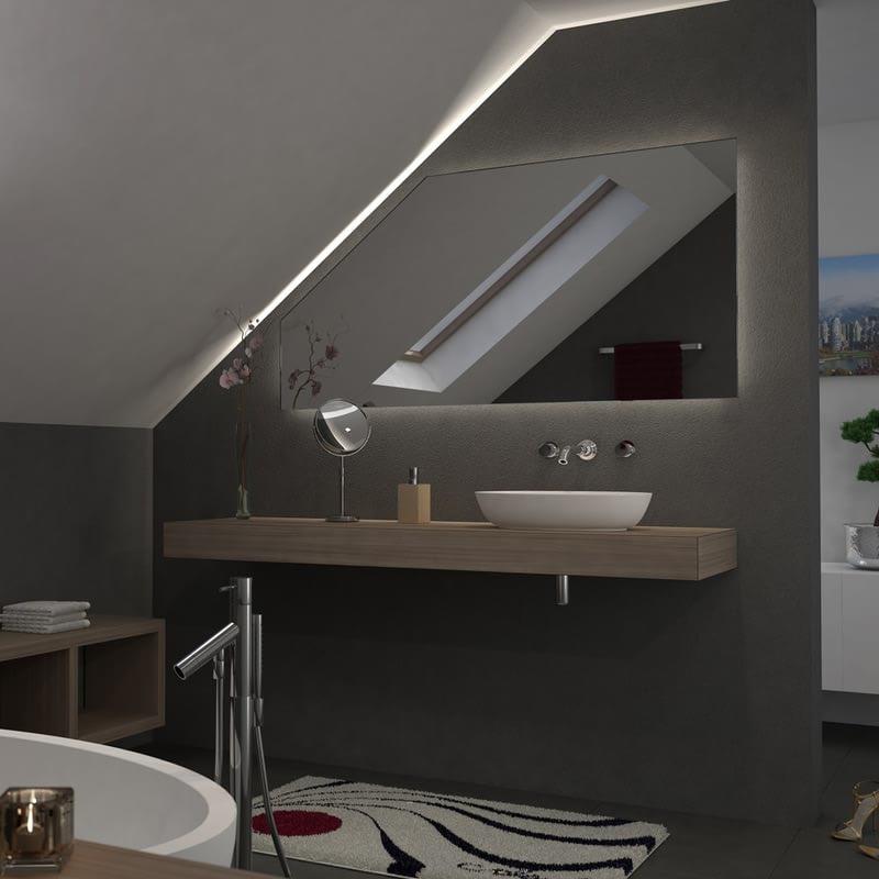 Spiegel für Dachschrägen mit LED Beleuchtung – Fina