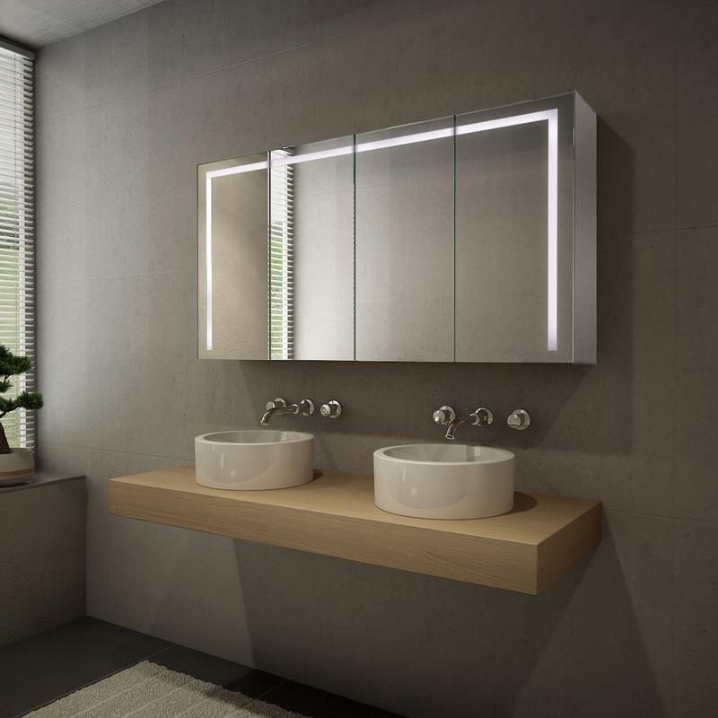 Spiegelschrank Aluminium mit LED Beleuchtung - Davenport