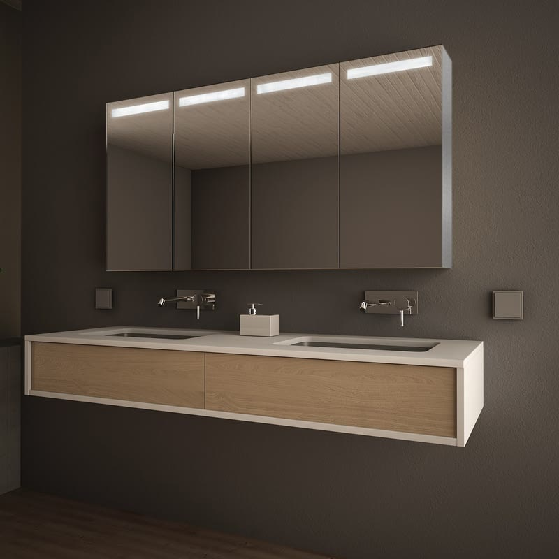 Spiegelschrank Aluminium mit LED Beleuchtung - Visalia