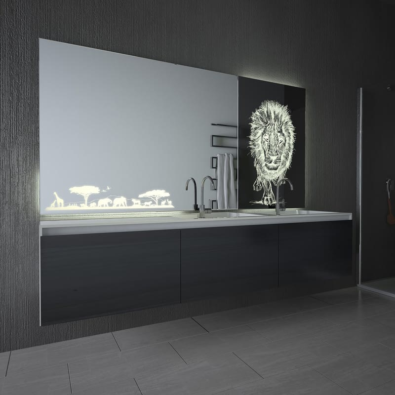 Teil-Lack-Spiegel mit LED-Beleuchtung Afrika