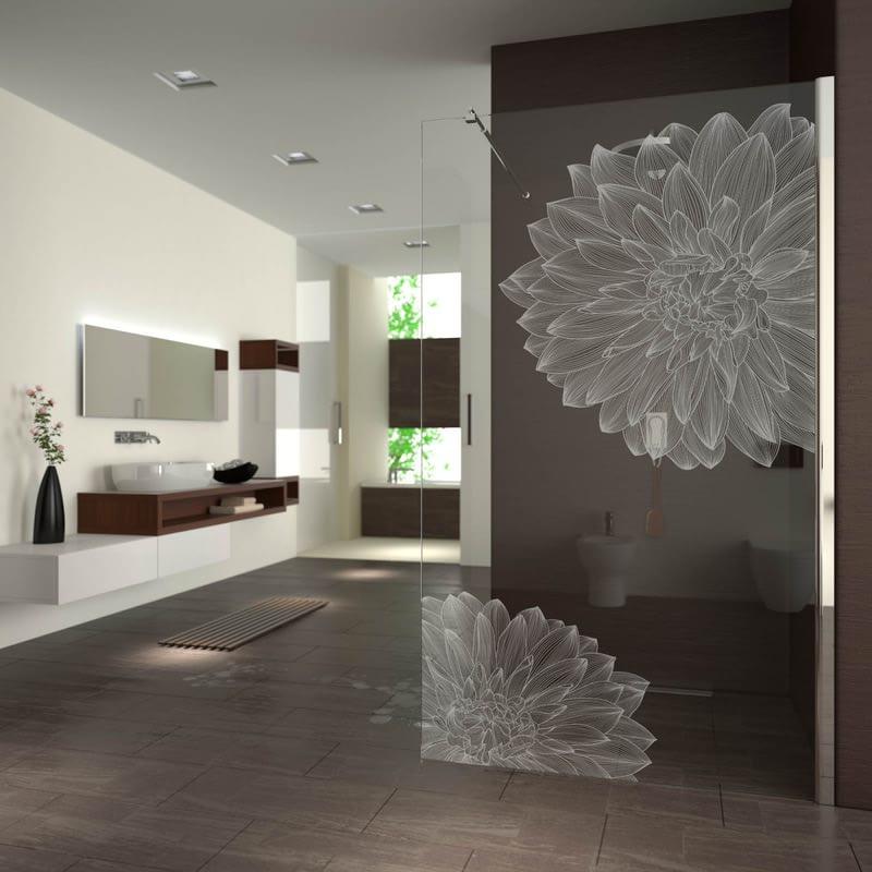 Walk In Dusche gelasert mit Motiv Blüten