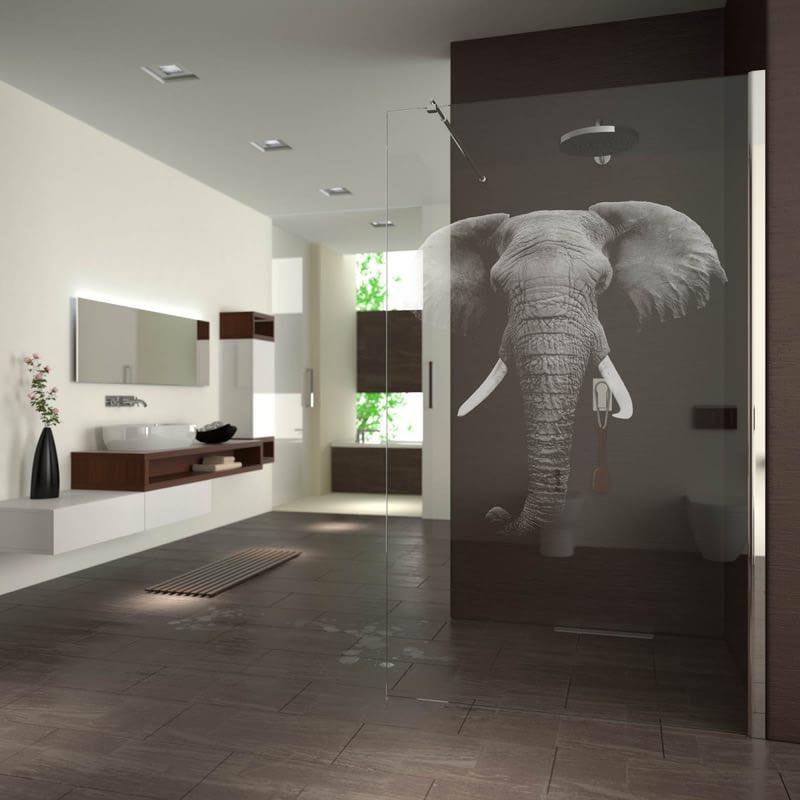 Walk In Dusche gelasert mit Motiv Elefant