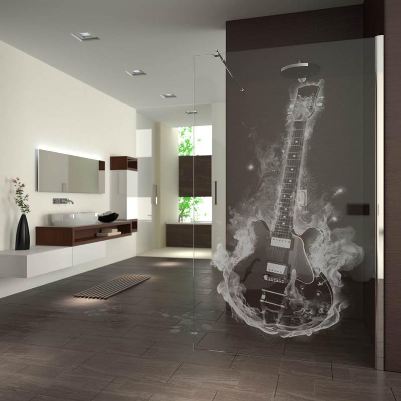 Walk In Dusche gelasert mit Motiv Hot Guitar