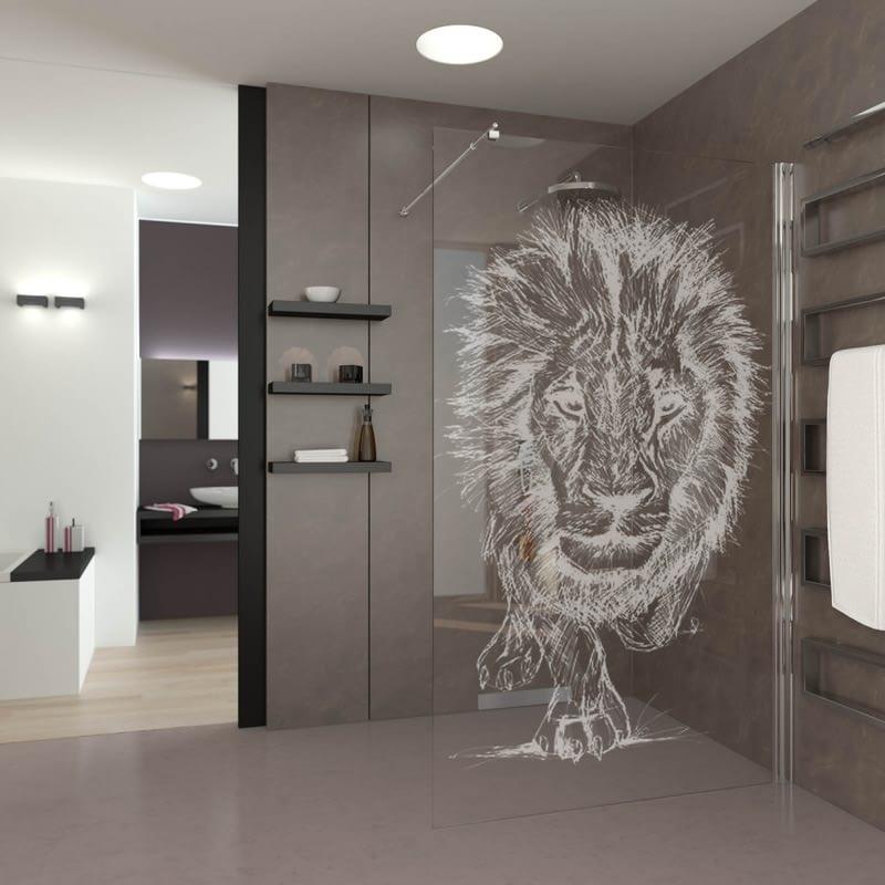 Walk In Dusche gelasert mit Motiv Lion King
