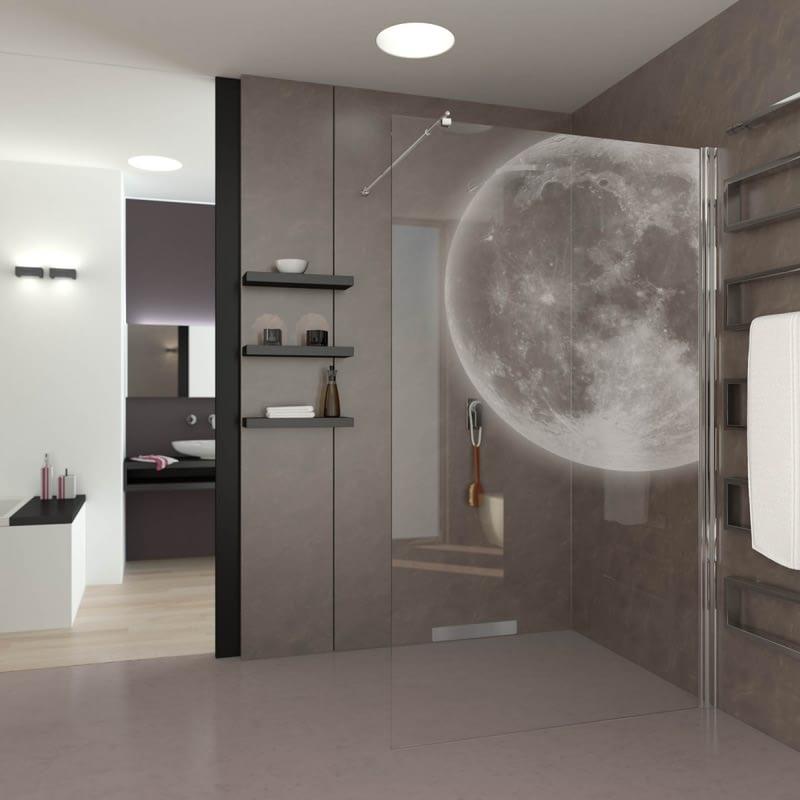 Walk In Dusche gelasert mit Motiv Mond