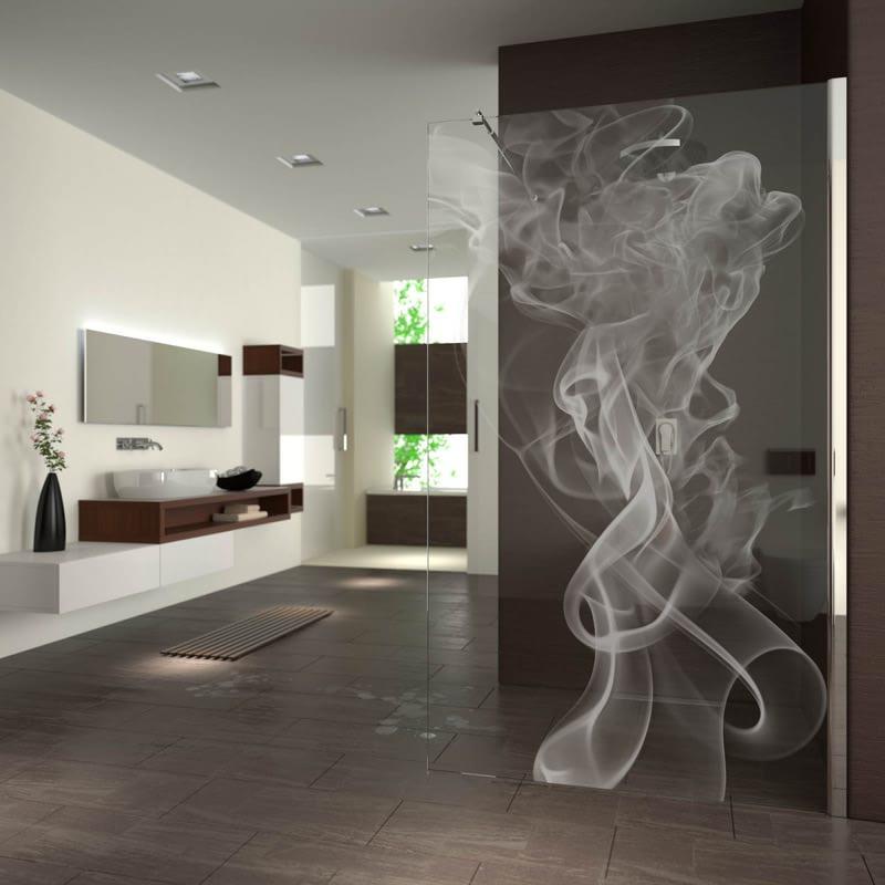 Walk In Dusche gelasert mit Motiv Smoke