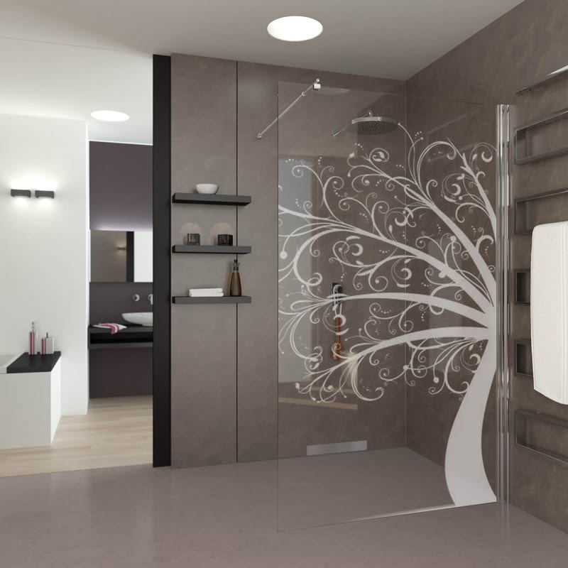 Walk In Dusche gelasert mit Motiv Tree of Art