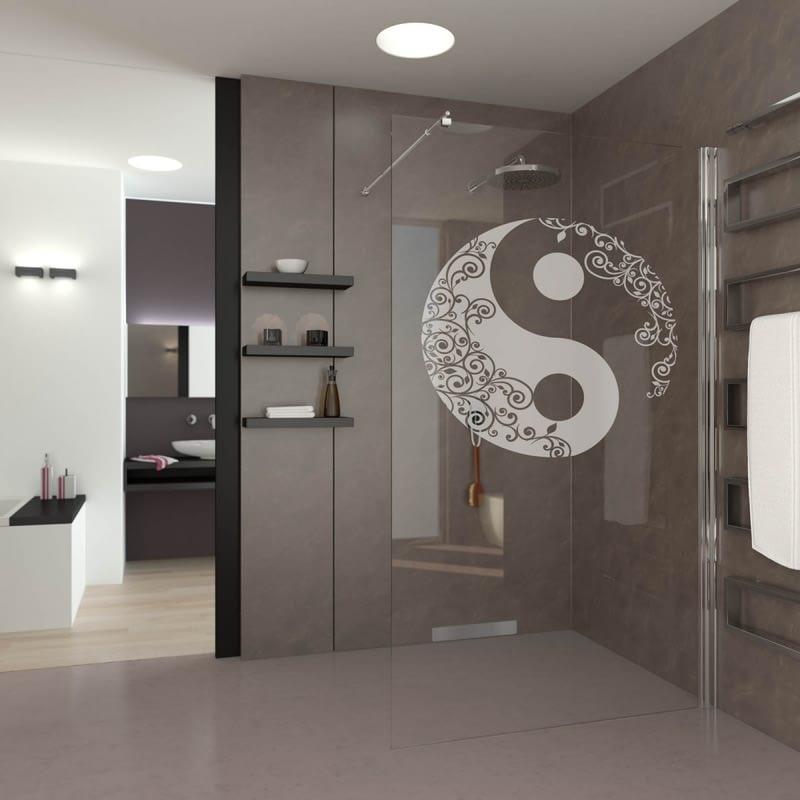 Walk In Dusche gelasert mit Motiv YinYang