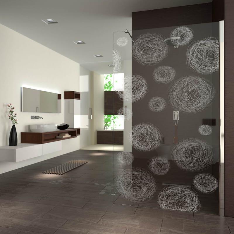 Walk In Dusche gelasert mit Motiv gezeichnete Kugeln