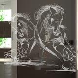 Walk In Dusche gelasert mit Motiv Horsepower